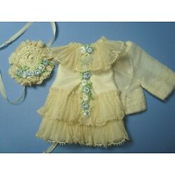 CREAM SILK DRESS,HAT& BLOOMERS VINTAGE LACE & FLOWERS-CATHY HANSENS 5'' DOLL