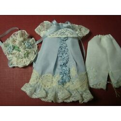 BLUE SILK DRESS,HAT& BLOOMERS- ANTIQUE FLOWERS FOR CATHY HANSENS 5'' BISQUE DOLL