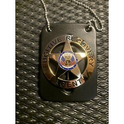 Fugitive Recovery Agent Gold Badge w/ Leather Neck Chain Dog  The Bounty Hunter