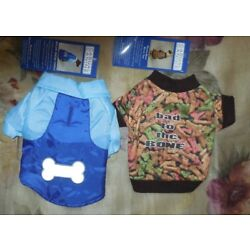 2 Outfits XX-Sm Casual Canine Dog Blue Nylon Snow Parka & Bad To The Bone Tee