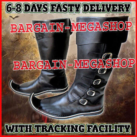 img-Medieval Leather Boots Black Re-enactment Mens Shoe Larp Role Play Costume kML1