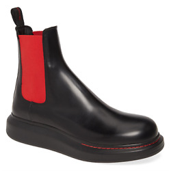NIB Alexander McQueen Black Leather Red Hybrid Chelsea Boots Sneakers 43 10 $650