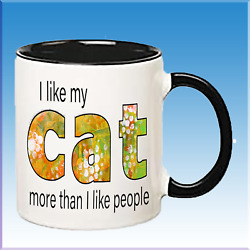 I Love My Cat More Than People Funny Cats Lover Ceramic Coffee Mug Gift Cups