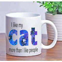 I love my cat more than people Cats Lover Ceramic Mug Coffee cups Men Women Gift