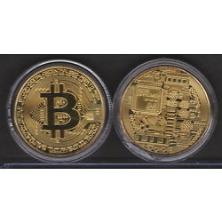 Bitcoin Commemorative Detailed Collectors Coin Sealed In Protective Case
