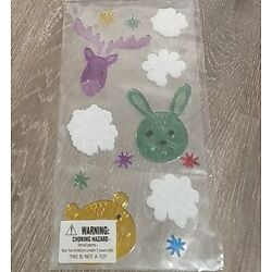 (5) winter Reindeer bunny snowflakes window gel cling classroom decoration 10A
