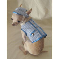 Dog harness/Leash/Blue Little Star Harness Set/Dog Clothes/Chihuahua/Med or L