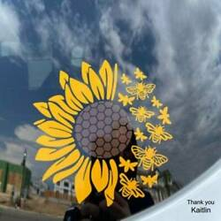 Honeycomb, Bees and Sunflower Decal for car windows.