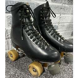 Vintage Riedell Red Wing 220 Black Leather Roller Skates Sure Grip Size 8.5 M
