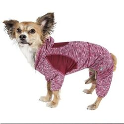 Pet Life Active 'Downward Dog' Performance Two Toned Hoodie - Red / Pink - Large