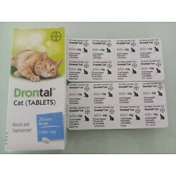 BAYER For Cats Kittens Dewormer Tape Hook Round Worms 16 Tablet EXP 2025