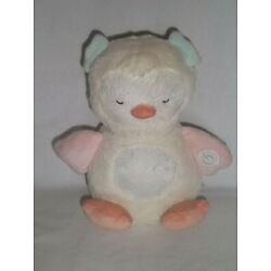 CARTERS OS Plush Musical Lights Up OWL White Peach Glow Belly Soother Baby Toy