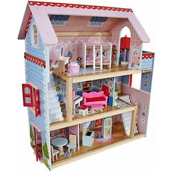 Best Christmas Gift Doll Cottage Wooden Dollhouse with 16 Accessories
