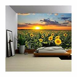wall26 - Field of Blooming Sunflowers on a Background Sunset - Removable Wall...
