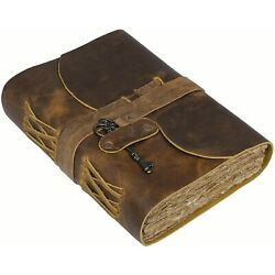 Vintage Journal Antique Handmade Leather Bound journal with deckle edge Paper 7''