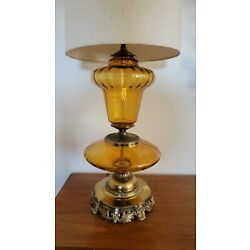 Vtg. XL Mid Century  Double Honey Amber Glass & SOLID Brass Hollywood  * 39''