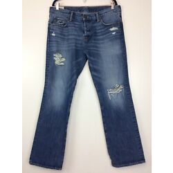 Abercrombie & Fitch A&F Remsen Slim Straight Distressed Jeans 34x32