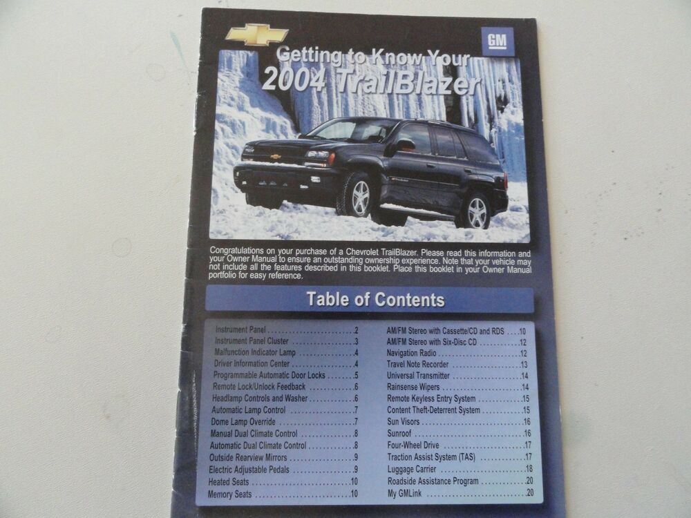 2004 Chevrolet Trailblazer Quick Reference Guide Owners Manual Supplement