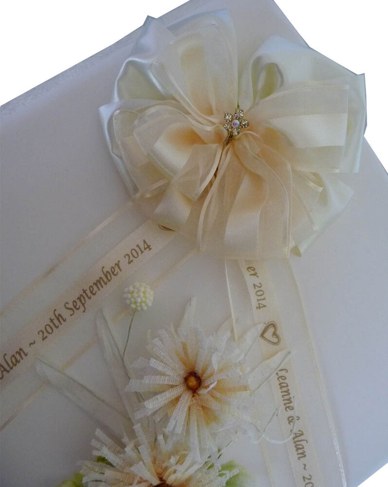 Personalised Wedding Gift Ribbon : Personalised ribbon bow organza & polyester for wedding christening ...