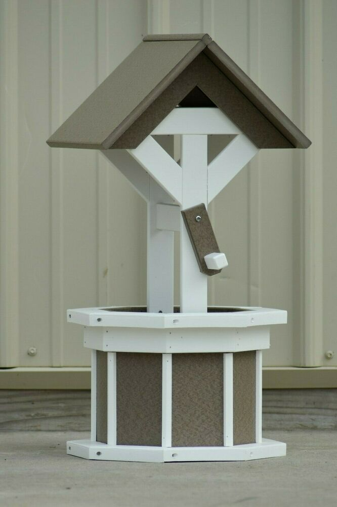 2 Octagon Poly Wishing Well Flower Planter Clay White