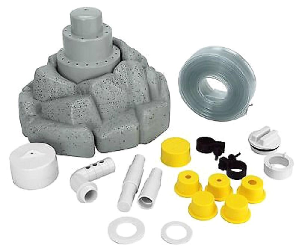 Above in ground swimming pool 3 tier floating rock water - Swimming pool water fountain kits ...
