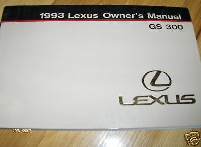 1993 lexus gs300 gs 300 owners manual ebay. Black Bedroom Furniture Sets. Home Design Ideas