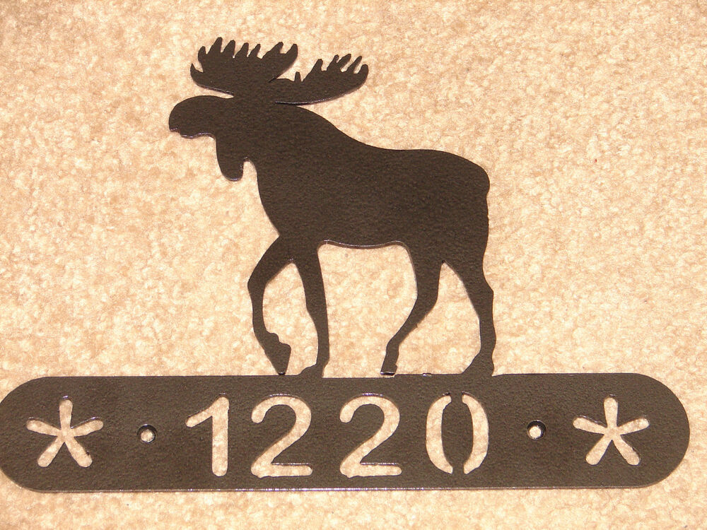 Moose Metal Home Address Plaque Wall Decor House Sign Ebay