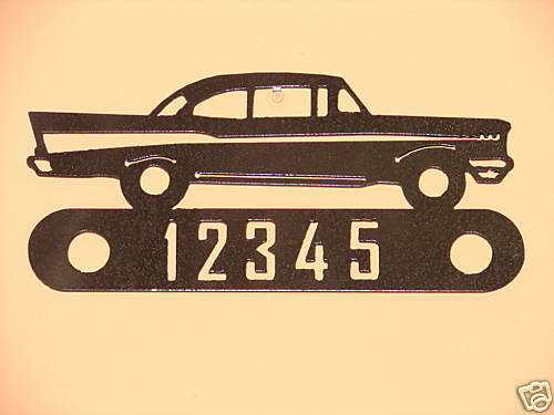 57 CHEVY METAL HOME ADDRESS SIGN STEEL WALL DECOR HOUSE