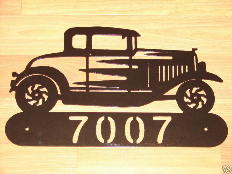 Classic Car Signs : Hot rod coupe metal home address sign wall classic car ebay