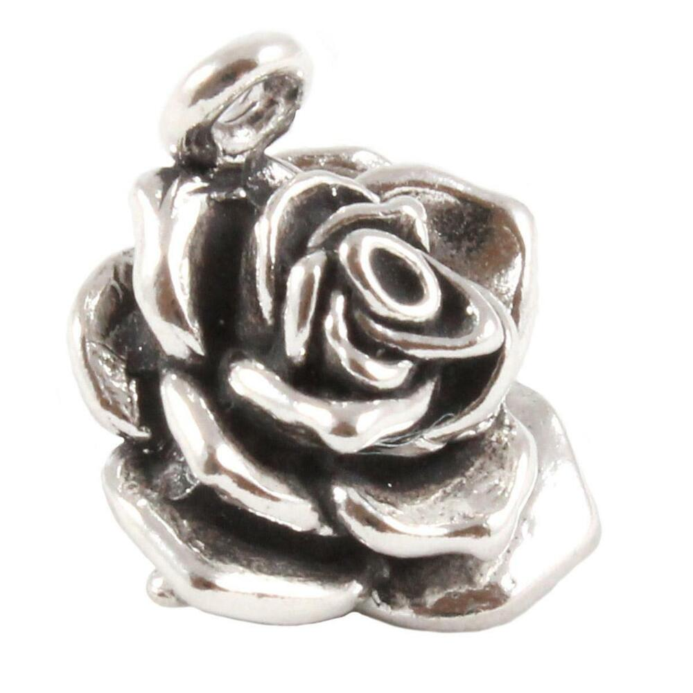 Metal Charm Bracelets: Rose Flower Charm - Large 3D Sterling Silver Charms