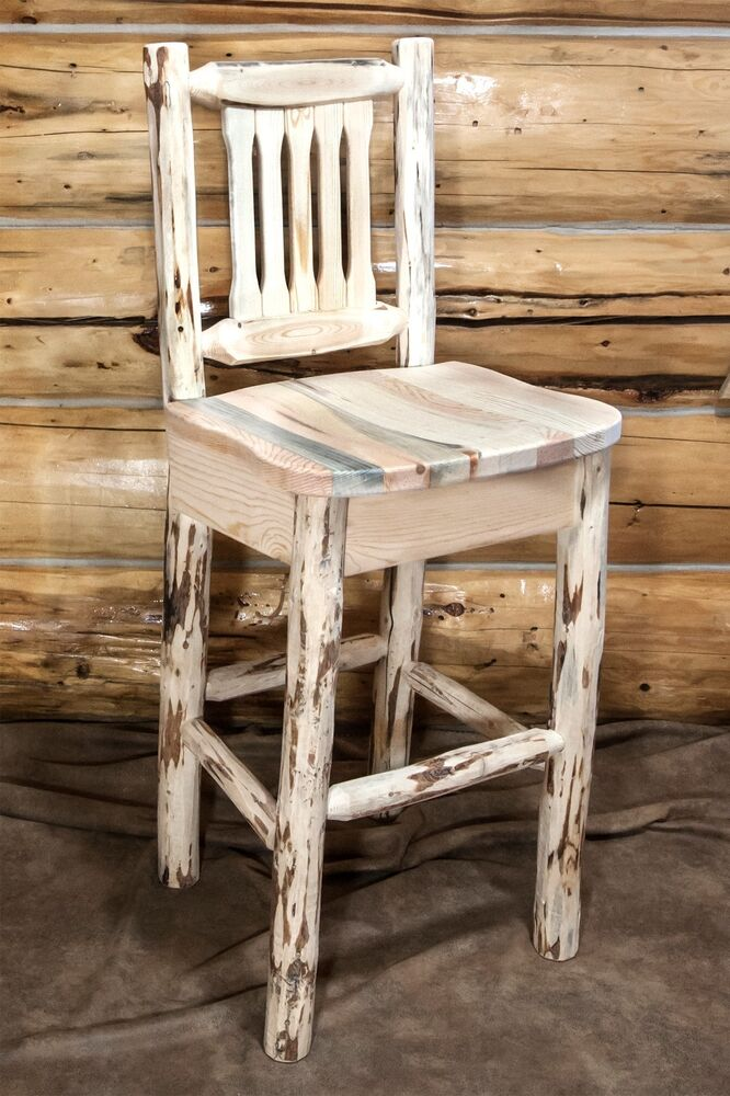 Log Bar Stools With Backs Amish 30 Inch Rustic Handcrafted