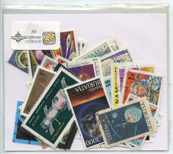 LOT DE 50 TIMBRES THEMES ESPACE  COSMOS / COSMAUNAUTES / ESPACE /  DIFFERENTS
