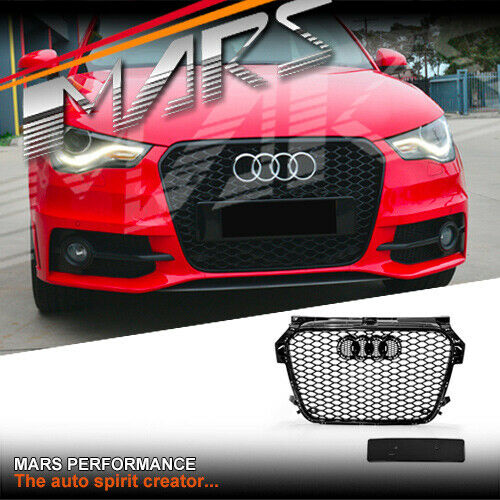 gloss black rs1 honeycomb style front bumper grille grill