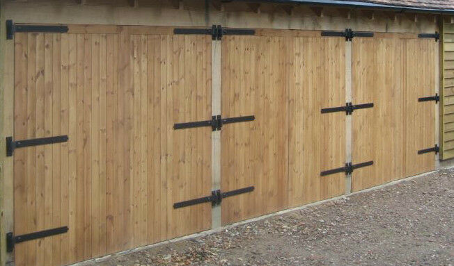 Wooden garage doors side hung 7 39 wide x 7 high 39 timber for How wide is a garage door