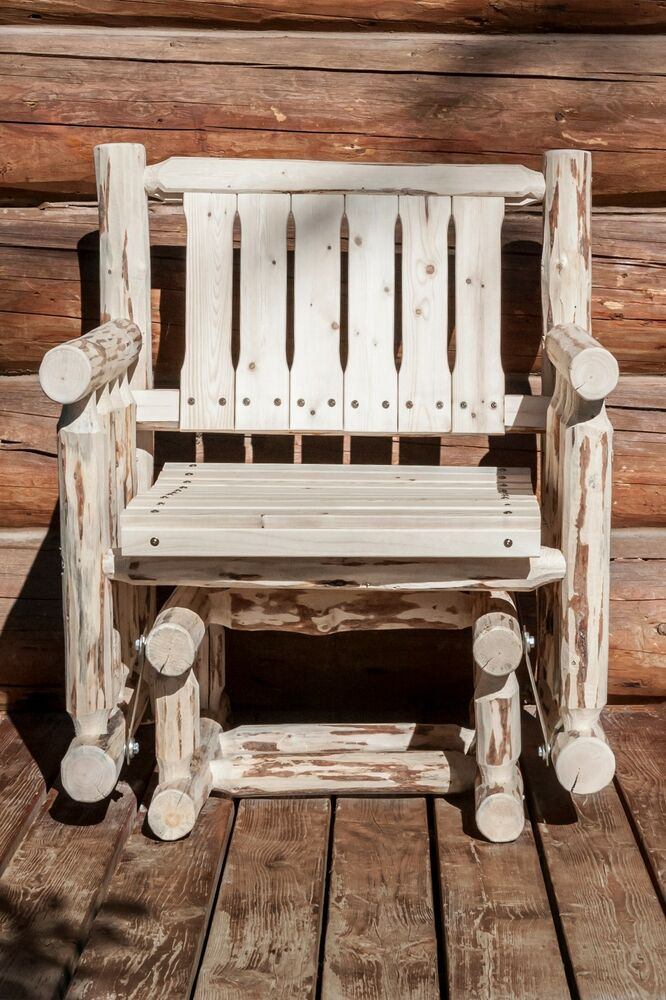 amish outdoor glider chair rustic log porch rocker lodge. Black Bedroom Furniture Sets. Home Design Ideas