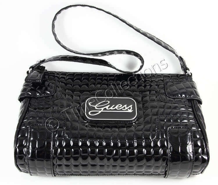 New Guess Somerset Glossy Croc Shoulder Bag Black W Tag Ebay