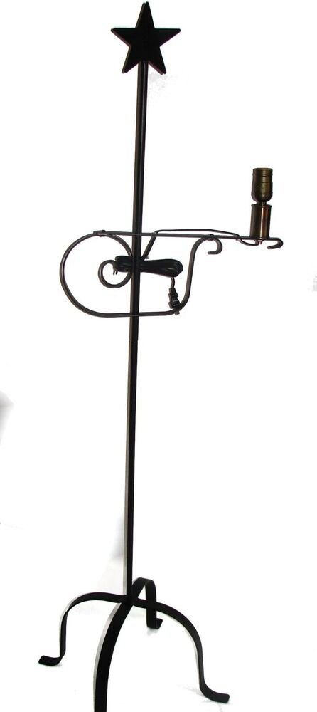 black hand wrought rod iron 5 39 floor lamp adjustable usa. Black Bedroom Furniture Sets. Home Design Ideas