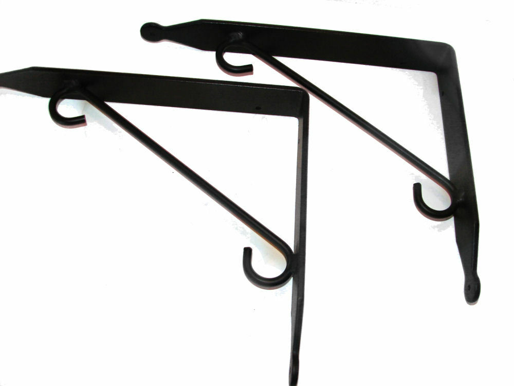 black wrought iron shelf wall brackets pair large usa hand forged sturdy ebay. Black Bedroom Furniture Sets. Home Design Ideas