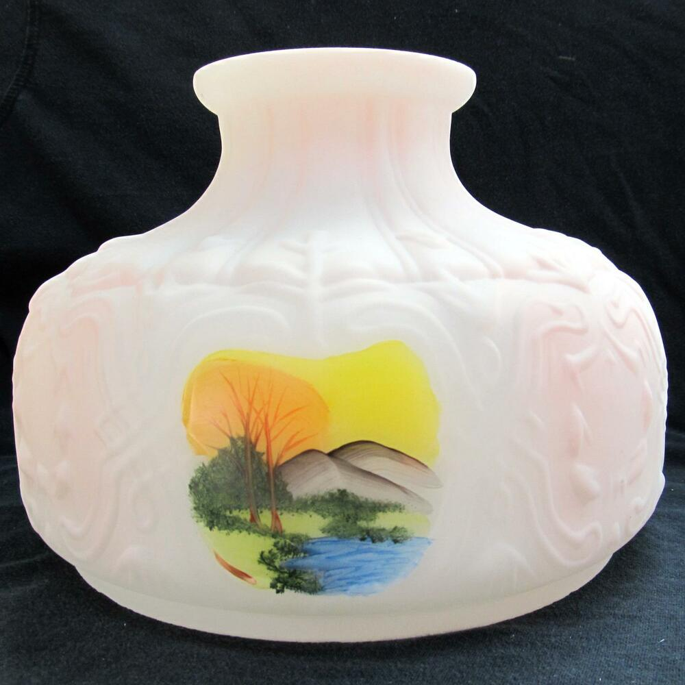 "Hand Painted Lamp Shades: 10"" GLASS Hand Painted Oil Lamp SHADE, ALADDIN BRAND SWISS"