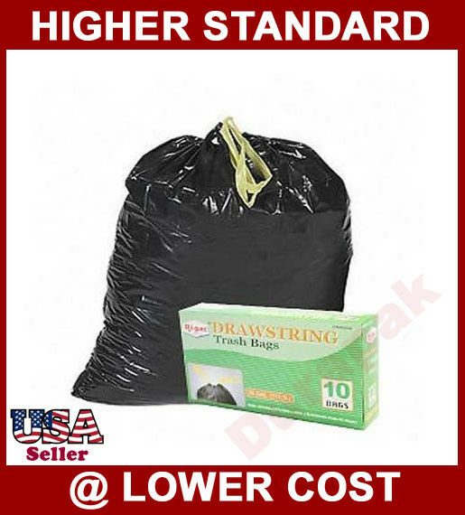 Trash Can Liner Bags : Gallon drawstring black large garbage trash can