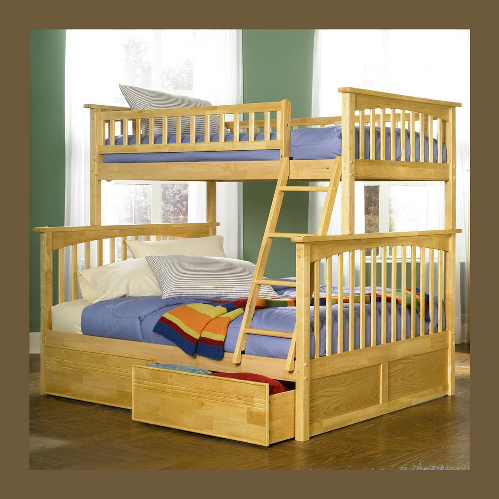 Solid wood bunk bed twin over full under bed storage drawer or trundle option ebay - Solid wood trundle bed with drawers ...