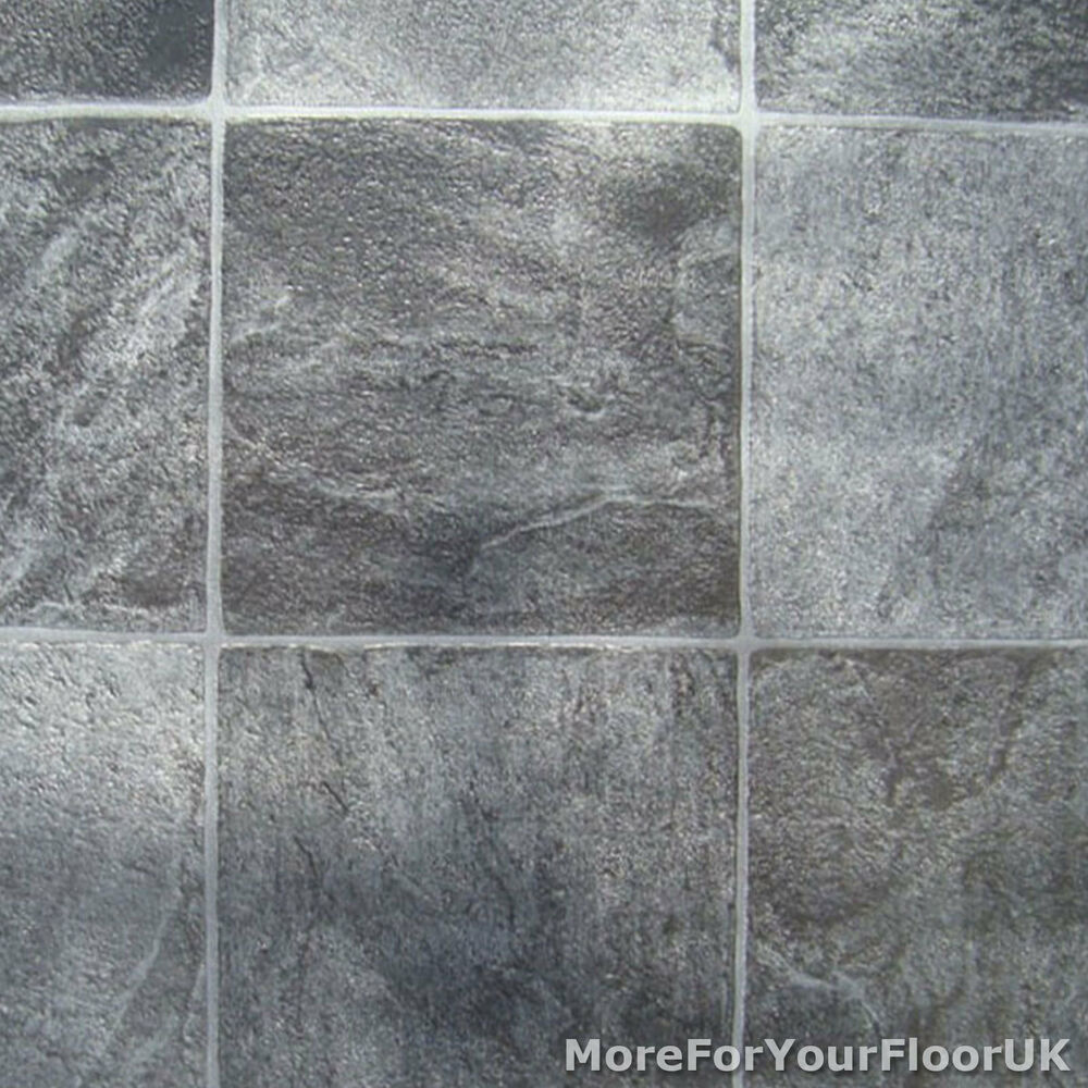 Grey stone tile vinyl flooring kitchen bathroom lino ebay for Cushion floor tiles kitchen
