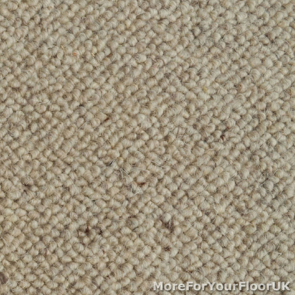 Wool Loop Rug: 100% Wool Berber Carpet - Beige / Grey - Quality Loop