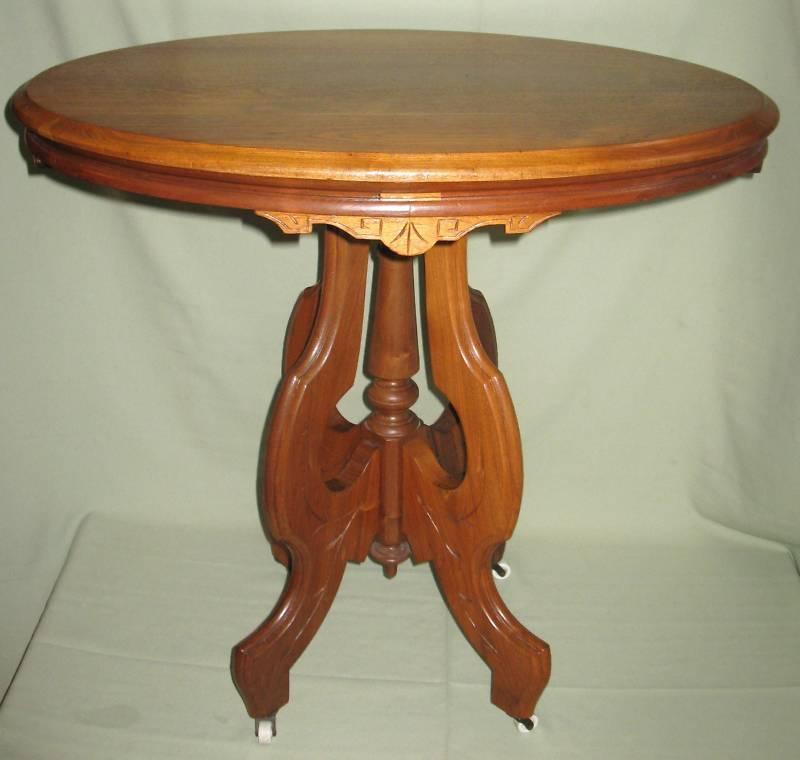 Antique Victorian Walnut Oval Parlor Lamp Table 1860 80 Ebay