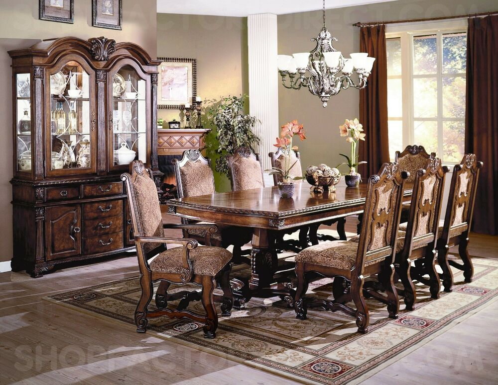 Neo renaissance formal dining room furniture set with for Traditional dining table for 8