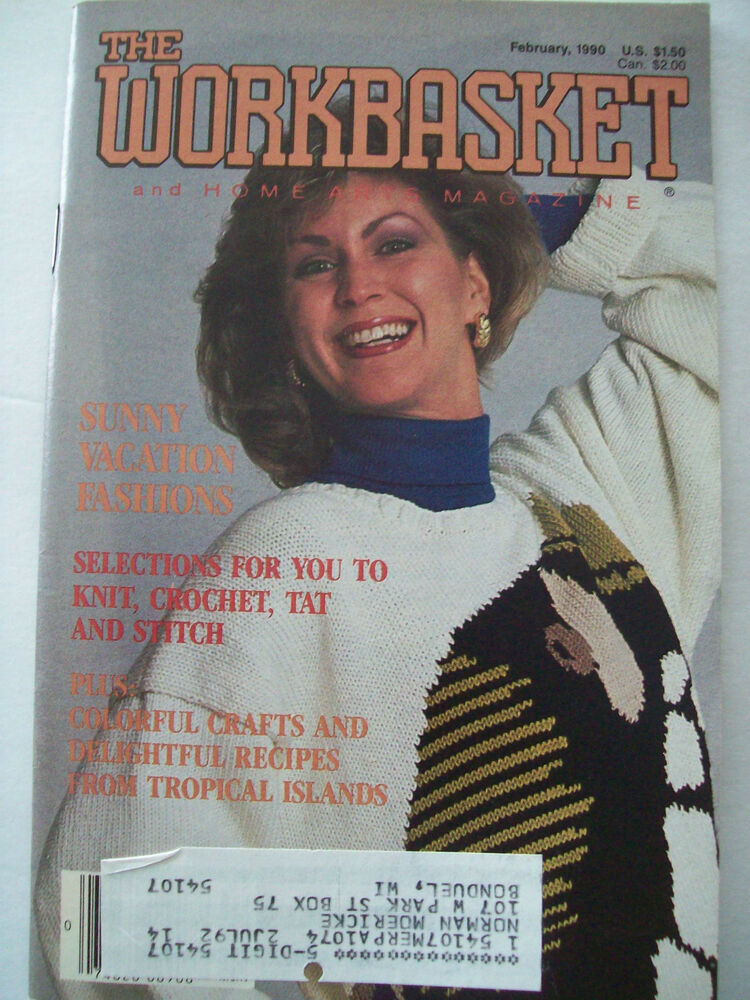 February 1990 Workbasket Knit Crochet Tat Pattern Magazine Afghan Belt Pillow...