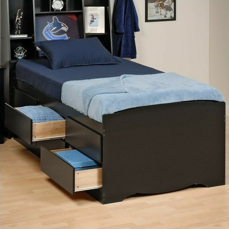 Black Tall Twin Platform Storage Bed Wood Storage Drawers
