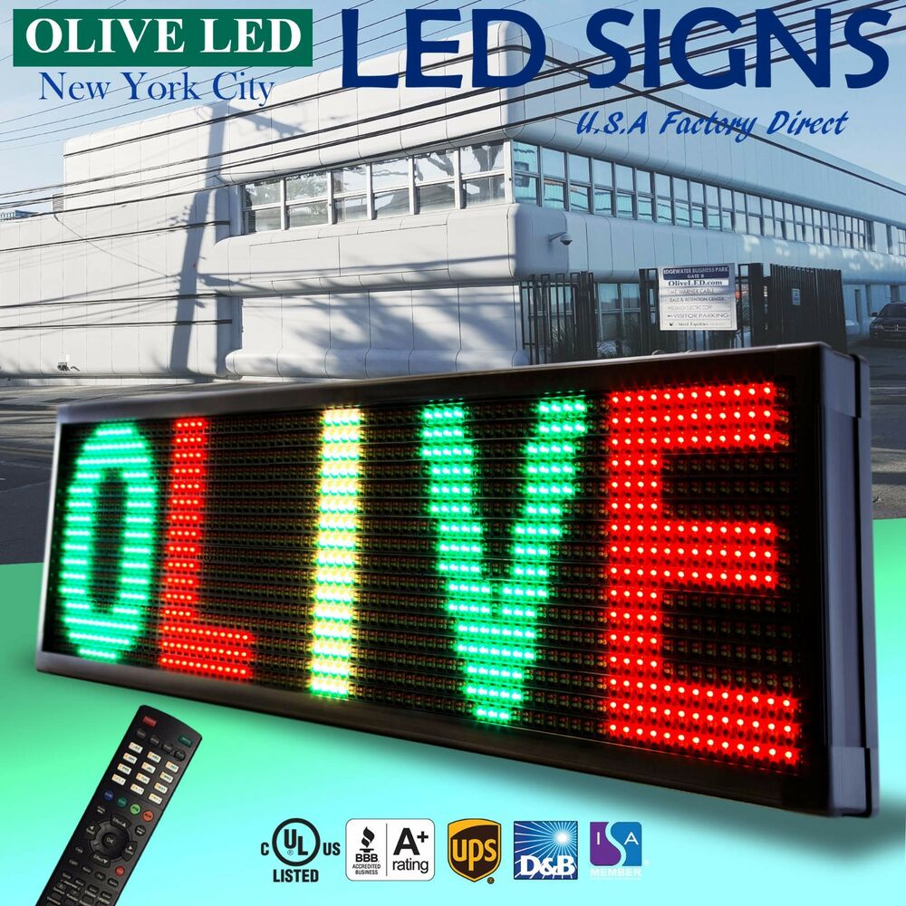 led sign programmable scrolling message board p30 3color rgy 22 quot x 60 quot ebay