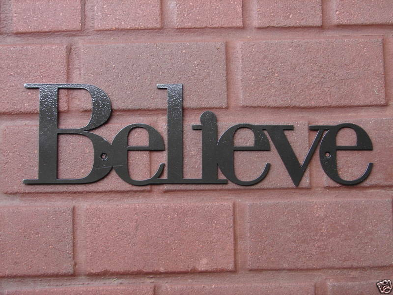 Wall Decor With Words : Believe inspirational wall plaque metal art decor word