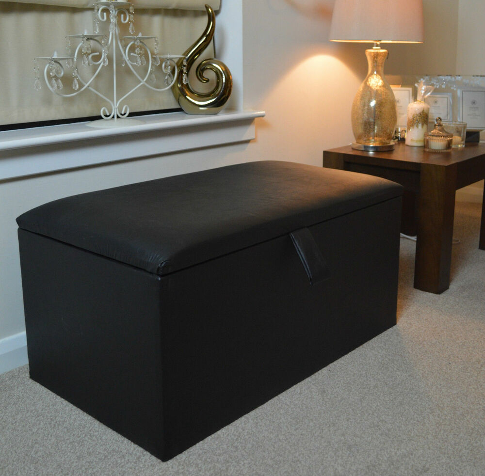 Black leather ottoman storage blanket box toy box large for Black leather footstool